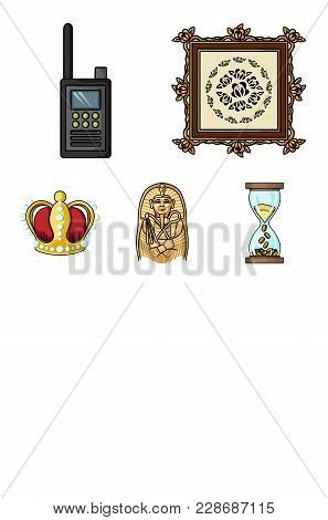 Picture, Sarcophagus Of The Pharaoh, Walkie-talkie, Crown. Museum Set Collection Icons In Cartoon St