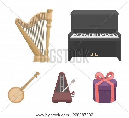 Banjo, Piano, Harp, Metronome. Musical Instruments Set Collection Icons In Cartoon Style Vector Symb