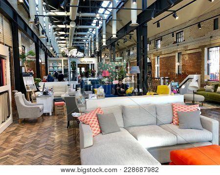 LONDON - FEBRUARY 24, 2018: Sofa.com showroom in Angel, Islington, London, UK.