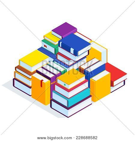 Isometric Books Isolated On White Background. 3d Stacks Of Books. Pile Of Books With Bookmarks. Conc