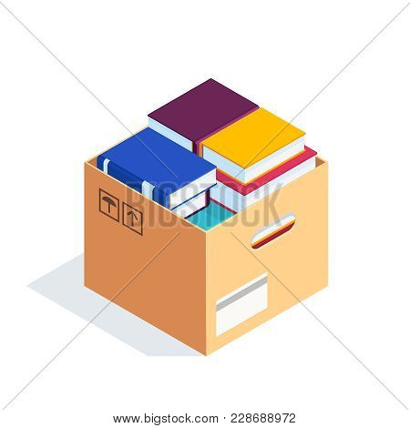Isometric Box With Books Isolated On White Background. 3d Stacks Of Books In A Cardboard Box. Pile O