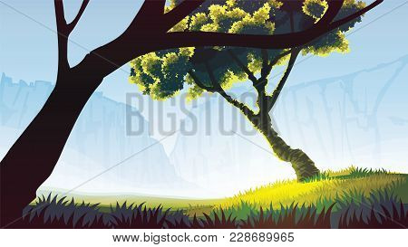 A High Quality Background Of Landscape With Field, Trees And Mountains. Background Of A Field With T