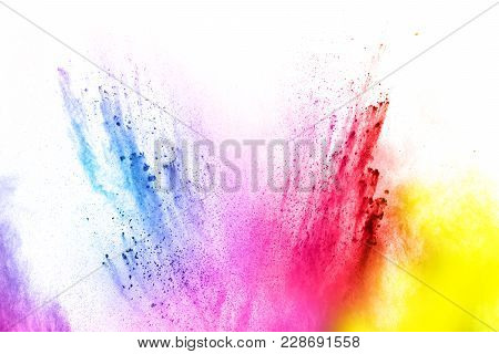 Abstract Multicolored Dust Explosion On White Background. Abstract Color Powder Splattered  On Backg