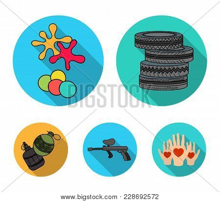 Competition, Contest, Equipment, Tires .paintball Set Collection Icons In Flat Style Vector Symbol S