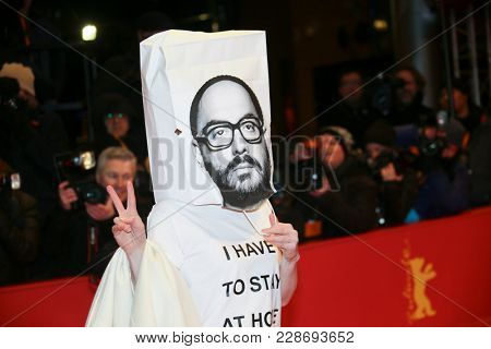 Franziska Petri with a bag of the Russian director Kirill Serebrennikov oh her head during the closing ceremony during the 68th Film Festival Berlin at Palast on February 24, 2018 in Berlin, Germany.