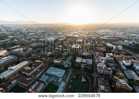 Los Angeles, California, USA - February 20, 2018:  Aerial sunrise view of the University of Southern California campus near downtown LA.