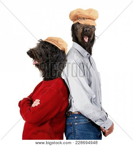 dog heads on human models with their back to each other showing body language of a couple studio shot on an isolated white background