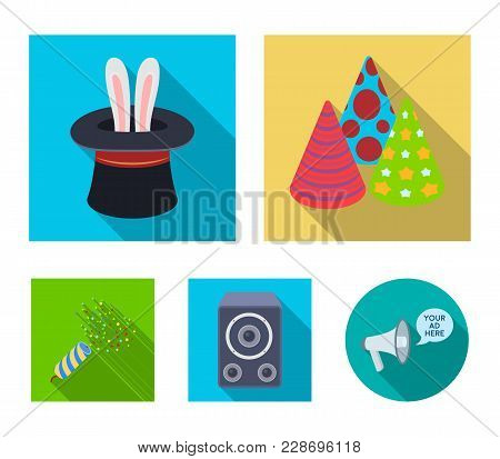 Tricks, Music And Other Accessories At The Party.party And Partits Set Collection Icons In Flat Styl