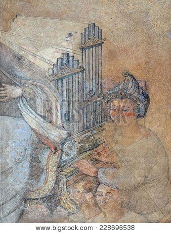 ZAGREB, CROATIA - APRIL 12: Saint Cecilia, fresco on house facade in Zagreb, Croatia on April 12, 2015.