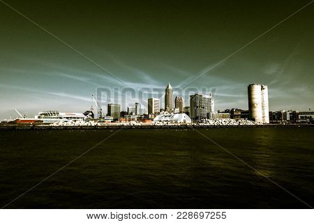 City Of Cleveland Ohio Skyline Edited To Replicate The Walking Dead Look