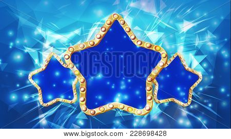 Star Frame Vector. Three Golden Star Shape With Lights. Rays. Award Ceremony, Event Concept. Shine L