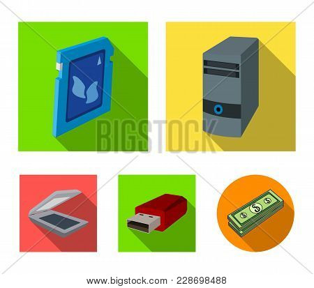 A System Unit, A Flash Drive, A Scanner And A Sd Card. Personal Computer Set Collection Icons In Fla