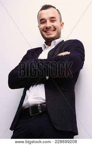 in full growth.bottom view of confident businessman .