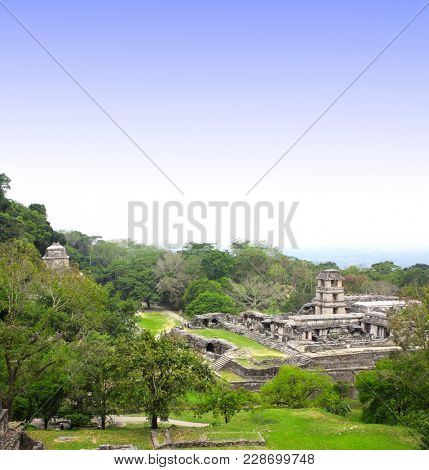 Top view on ruins of Royal palace with a watchtower, pre-Columbian Maya civilization, Palenque, Chiapas, Mexico. UNESCO world heritage site