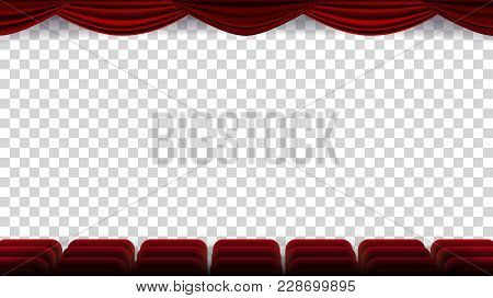 Cinema Chairs Vector. Film, Movie, Theater, Auditorium With Red Seat, Row Of Chairs. Blank Screen. I