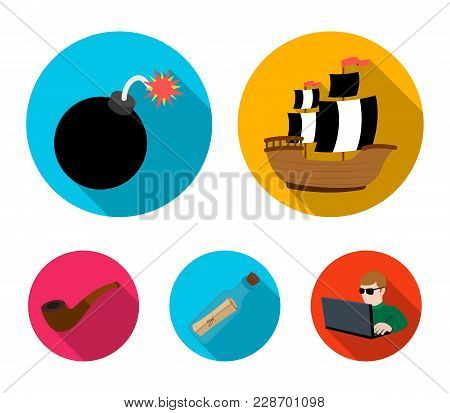 Pirate, Bandit, Ship, Sail .pirates Set Collection Icons In Flat Style Vector Symbol Stock Illustrat