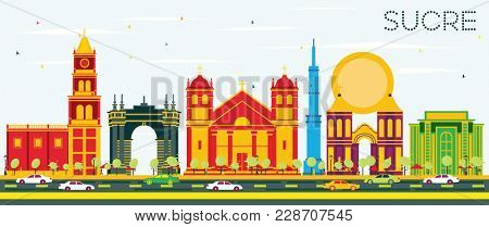Sucre Skyline with Color Buildings and Blue Sky. Business Travel and Tourism Concept with Historic Architecture. Sucre Cityscape with Landmarks.