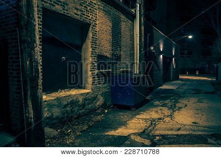 Dark empty and scary urban city street