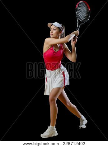 Young woman tennis player (without ball version)