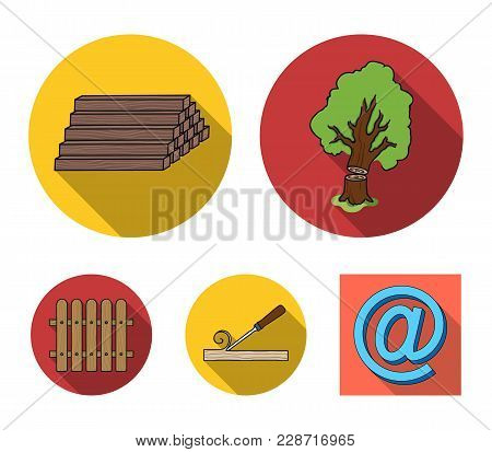 Wood, Logs In A Stack, Chisel, Fence. Lumber And Timber Set Collection Icons In Flat Style Vector Sy
