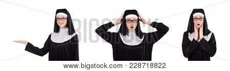 Young nun isolated on the white background