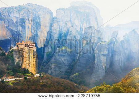 Landmarks of Greece - unique Meteora with hanging monasteries over rocks.