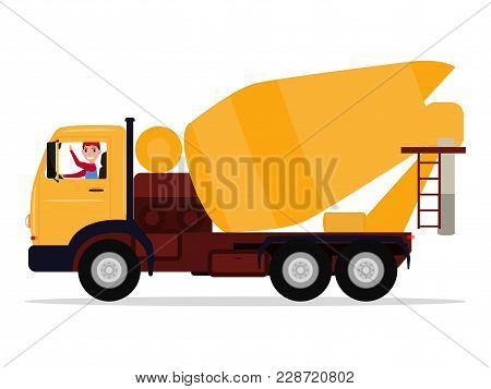 Vector Illustration Cartoon Character Driver Man On A Truck Concrete Mixer. Isolated White Backgroun