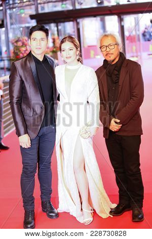 Lav Diaz, Shaina Magdayao and Piolo Pascual attend the 'Season of the Devil' premiere during the 68th  Film Festival Berlin at Berlinale Palast on February 20, 2018 in Berlin, Germany.