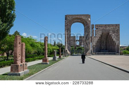 Main gate to  Mother See of Holy Etchmiadzin Complex. Vagharshapat. Armenia