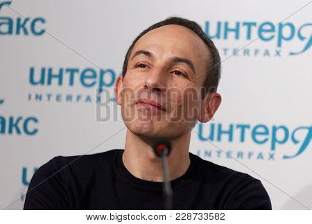 ST. PETERSBURG, RUSSIA - DECEMBER 11, 2017: Costume and set designer Jerome Kaplan on the press conference dedicated to the premiere of ballet Don Quixote in the Jacobson Ballet Theater