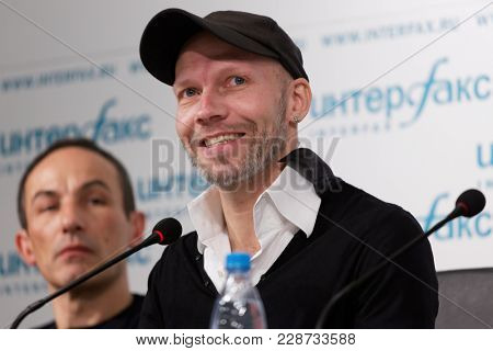 ST. PETERSBURG, RUSSIA - DECEMBER 11, 2017: Choreographer Johan Kobborg (center) and designer Jerome Kaplan on the press conference dedicated to the premiere of ballet Don Quixote in Jacobson Ballet