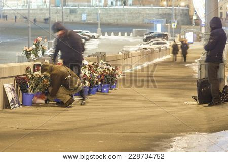 Moscow, Russia - February, 25, 2018: memorial of Boris Nemtcov, russian opposition politician, on the spot of his murder in the center of Moscow