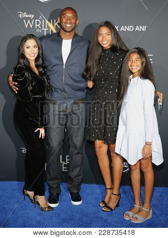 Kobe Bryant, Vanessa Bryant, Gianna Maria Onore Bryant and Natalia Diamante Bryant at the LA premiere of 'A Wrinkle In Time' held at the El Capitan Theater in Hollywood, USA on February 26, 2018.