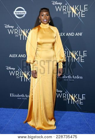 Issa Rae at the Los Angeles premiere of 'A Wrinkle In Time' held at the El Capitan Theater in Hollywood, USA on February 26, 2018.