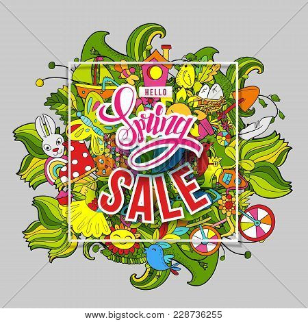 Cartoon Hand Drawn Doodle Hello Spring Sale Art. For Banners, Posters, Flyers, Cards, Invitations. V