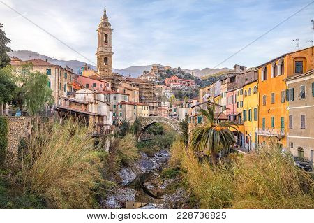 Cityscape Of Dolcedo - Small Town Located In Ligurian Alps, Italy