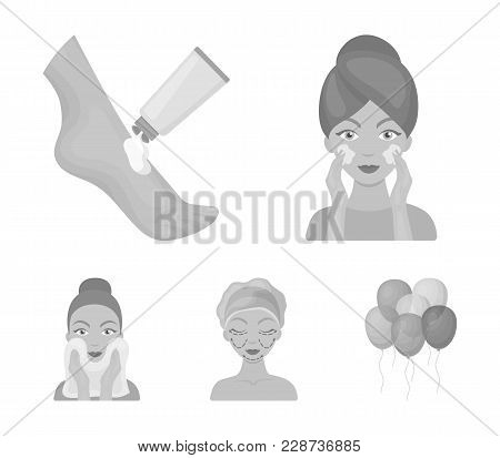 Face Care, Plastic Surgery, Face Wiping, Moisturizing The Feet. Skin Care Set Collection Icons In Mo
