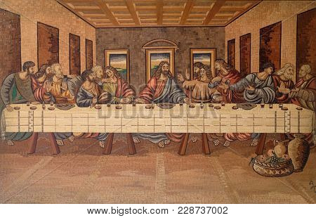 KLENOVNIK, CROATIA - OCTOBER 08: The Last Supper of Christ and the Disciples, church of Holy Trinity in Klenovnik, Croatia on October 08, 2016.