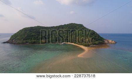 Aerial view from the drone on the island Koh Ma,path from koh Phangan, Thailand
