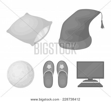 Night Cap, Pillow, Slippers, Moon. Rest And Sleep Set Collection Icons In Monochrome Style Vector Sy