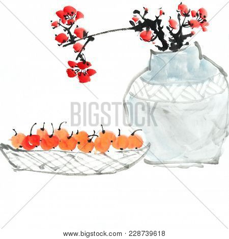Chinese painting of flowers, plum blossom at vase,with loquat.