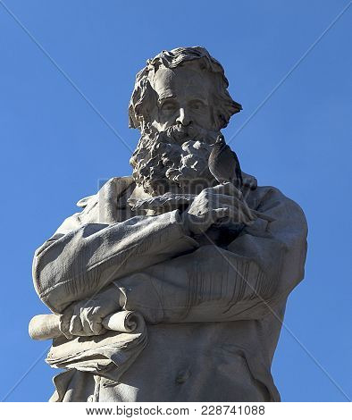 Venice, Italy. Statue Of The Great Italian Linguist And Lexicographer Nicolo Tommaseo Erected In The