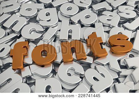 3D rendering of Fonts word in metallic copper color on pile of gray metallic alphabet fonts