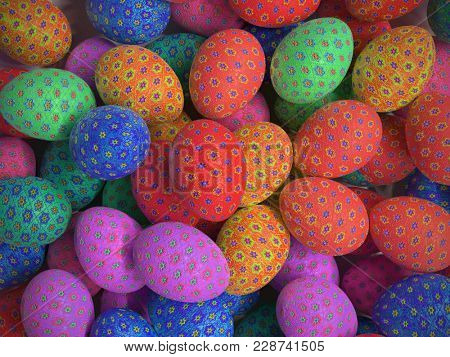 3D render of background of colorful easter eggs with floral patterns