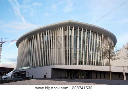 LUXEMBOURG CITY, LUXEMBOURG -  JANUARY 19, 2018: View of the Grande-Duchesse Josephine-Charlotte Concert Hall, also known as Philharmonie Luxembourg, the seat of the Luxembourg Philharmonic Orchestra