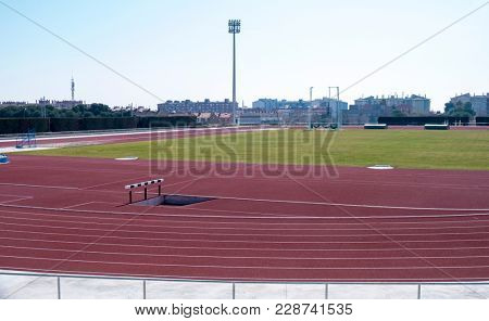 TARRAGONA, SPAIN - FEBRUARY 24, 2018: A view of the track and field of the Athletics Stadium that will host the athletics competition during the XVII Mediterranean Games