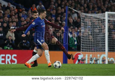 LONDON, ENGLAND - FEBRUARY 20: During the Champions League Round of 16 First Leg match between Chelsea FC and FC Barcelona at Stamford Bridge on February 20, 2018 in London, United Kingdom.