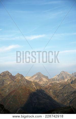 Peaks in Aspe Valley, Pyrenees, France.