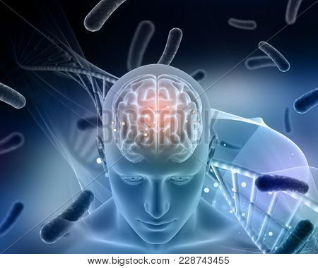 3D render of a medical background with male figure with brain highlighted