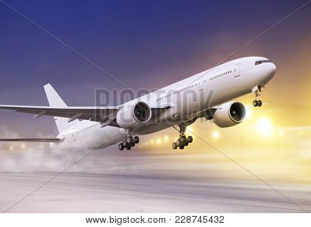 airport and white plane taking off at not flying weather, snowstorm